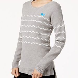 NWT MAISON JULES WHALE IN WAVES GRAPHIC SWEATER